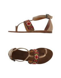 Coral Blue Thong Sandals Red