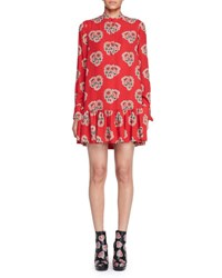 Alexander Mcqueen Poppy Print Drop Waist Dress Black Red
