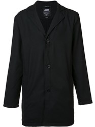 Publish Button Front Long Jacket Black