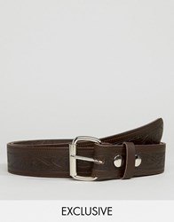 Reclaimed Vintage Embossed Leather Belt Brown Brown