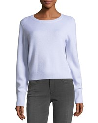Frame Crewneck Long Sleeve Wool Cashmere Cropped Sweater Light Blue