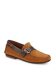 Bacco Bucci Altieri Embossed Leather Loafers Cognac