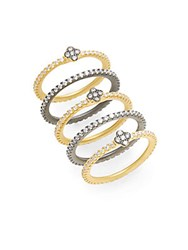 Freida Rothman Pave Clover Bezel Stacking Rings Set Gold Silver