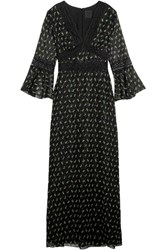 Anna Sui Lace Trimmed Printed Silk Blend Crepon Maxi Dress Black