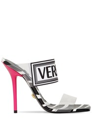 Versace 95Mm Logo Pvc And Rubber Sandals Black White