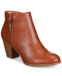 Style And Co Jamila Zip Booties Only At Macy's Women's Shoes Barrel Brown