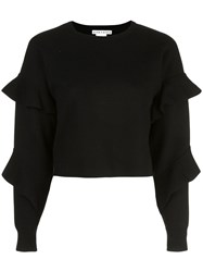 Alice Olivia Nettie Ruffle Sleeve Jumper Black
