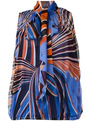 Emilio Pucci Pussy Bow Fastening Blouse Blue