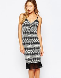 Love Bodycon Midi Cami Dress In Glitter Fabric Black White