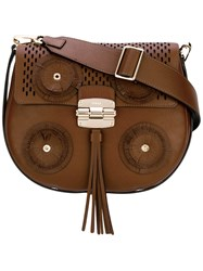 Furla Circle Detail Shoulder Bag Women Calf Leather One Size Brown