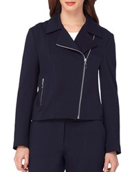 Tahari By Arthur S. Levine Stretch Ponte Moto Jacket Navy