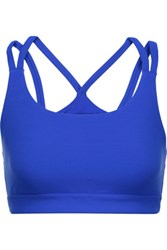 Yummie Tummie By Heather Thomson Sloan Mesh Paneled Stretch Jersey Sports Bra Bright Blue