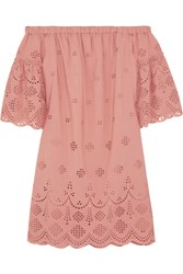 Madewell Off The Shoulder Broderie Anglaise Mini Dress Antique Rose