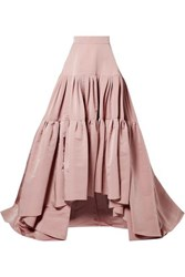 Reem Acra Tiered Silk Faille Maxi Skirt Antique Rose