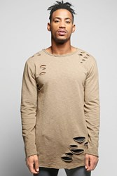 Boohoo Line Destroyed Sweater With Curve Hem Sand