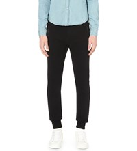 The Kooples Faux Leather Trims Cotton Jersey Jogging Bottoms Black