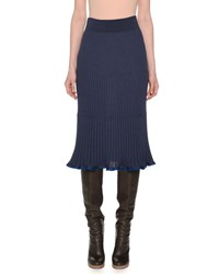 Agnona Ribbed A Line Below Knee Pull On Wool Blend Skirt Blue