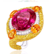 Anna Hu Haute Joaillerie Modern Art Deco Collection Modern Art Deco Ring In Rubellite Red