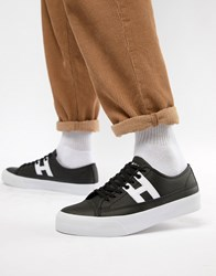 Huf Hupper 2 Lo Leather Trainers In Black
