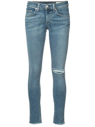 Rag And Bone Jean Ripped Skinny Jeans Blue