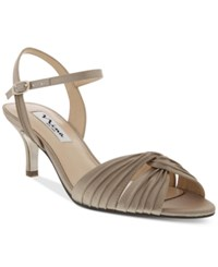 Nina Camille Two Piece Mid Heel Evening Sandals Women's Shoes Champagne