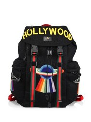 Gucci Hollywood Embroidered Mesh Drawstring Backpack Black