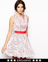 Chi Chi London Prom Lace Dress With Scallop Neck Creamred