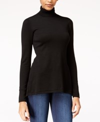 Material Girl Juniors' Lace Up Turtleneck Sweater Only At Macy's Caviar Black