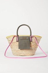 Jacquemus Soleil Nubuck Trimmed Straw Tote Green