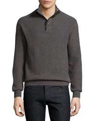 Luciano Barbera Cashmere Stand Collar Sweater Charcoal