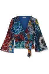 Alice Olivia Bray Pleated Tie Dyed Silk Georgette Wrap Blouse Blue