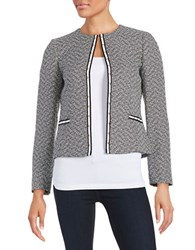 Tahari By Arthur S. Levine Petite Studded Tweed Blazer Black White