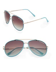 Steve Madden 64Mm Aviator Sunglasses Blue