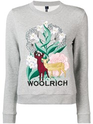 Woolrich Embroidered Design Sweatshirt Grey