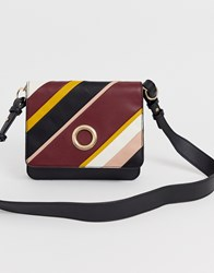 Warehouse Crossbody Bag With Circle Detail In Stripe Multi