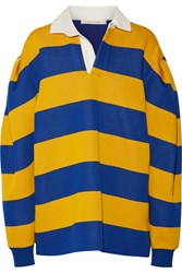 Marc Jacobs Oversized Pleated Striped Jersey Shirt Blue