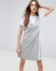 Asos 2 In 1 Vest Dress With T Shirt Grey Marl White