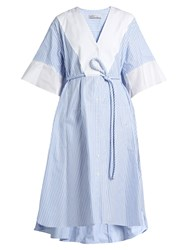 Palmer Harding Flounce Cuff Striped Cotton Shirtdress Light Blue