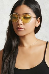 Forever 21 Tinted Aviator Sunglasses Gold Yellow