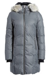 Soia And Kyo Women's Hooded Down Coat With Removable Genuine Coyote Fur Trim Ash