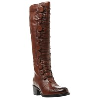 Dune Pixie D Button Detail Knee High Boots Brown Leather