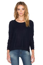 Velvet By Graham And Spencer Tacy Rayon Rib Long Sleeve Tee Navy
