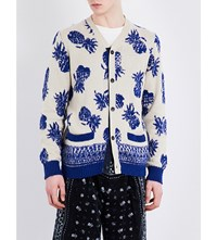 Sacai Pineapple Print Knitted Cardigan Beige X Blue