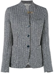 Fay Striped Standing Collar Blazer Women Cotton Polyamide Polyester Cupro 42 Black