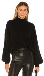 Autumn Cashmere Cable Sleeve Mock Sweater In Black. Ebony