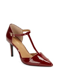 Calvin Klein Ginae Patent Leather T Strap Pumps Red