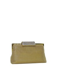 Whiting And Davis Crystal Clasp Clutch Bag Gold