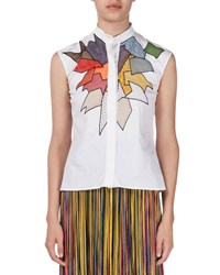 Christopher Kane Sleeveless Patchwork Lace Blouse White Women's