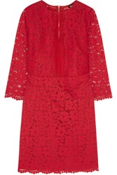 Dkny Silk Organza Paneled Guipure Lace Dress Red