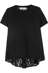 Valentino Stretch Knit And Plisse Lace Top